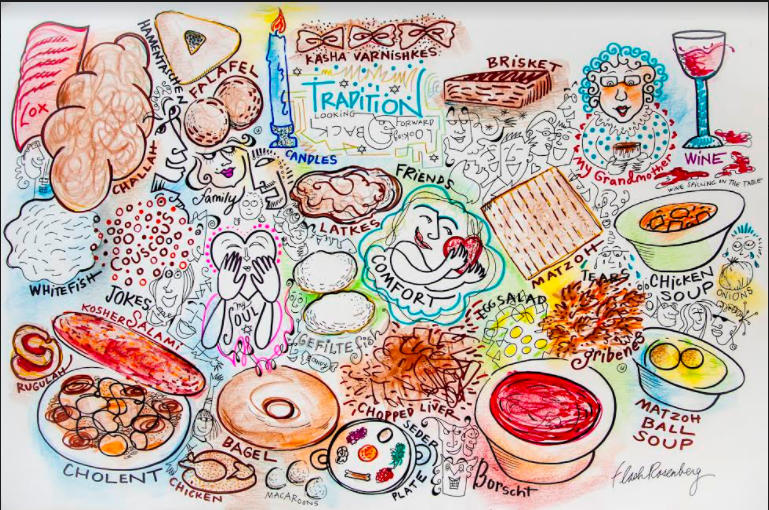 A drawing by illustrator Flash Rosenberg, who illustrated the talks in real time.
