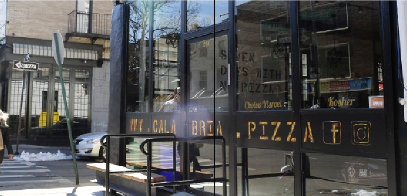Unfair Competiton? Calabria Pizza (in foreground) and Basil Pizza & Wine Bar (far corner) argue whether Jewish law permits the sale of 'Roman-style' pizza and Sicilian-style pizza, respectively, in close proximity to each other.