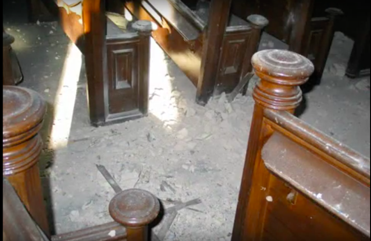 The pews of the synagogue were in disrepair long before the fire.