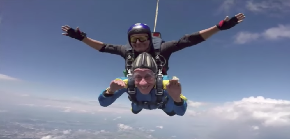 Holocaust survivor Elly Gotz skydived for the first time earlier in July.