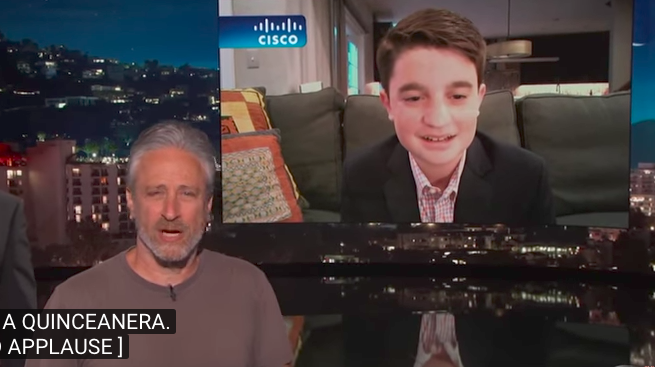 Jon Stewart Crashes 'Jimmy Kimmel Live!' to Berate Bar Mitzvah Teen