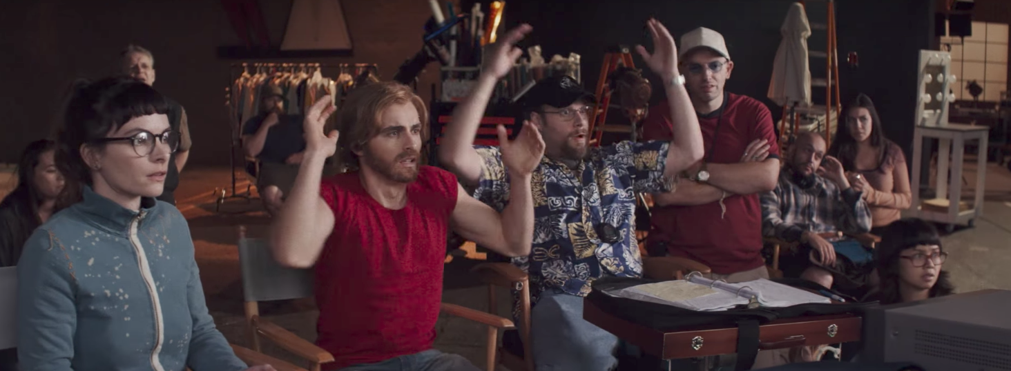 "Dave Franco and Seth Rogen celebrate in ""The Disaster Artist"""