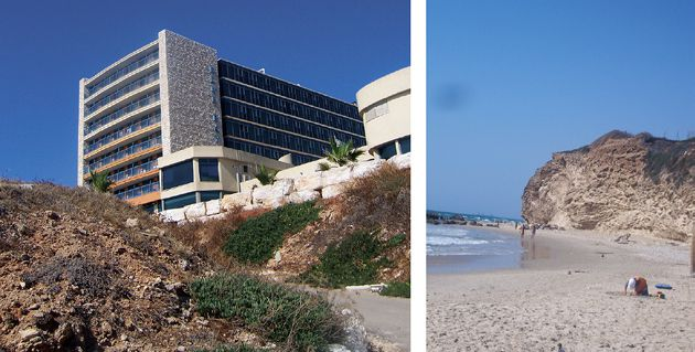 Cliffhanger: The Blue Bay Hotel, built atop a cliff near Netanya, and the beach near where dune rock collapse killed a camper.