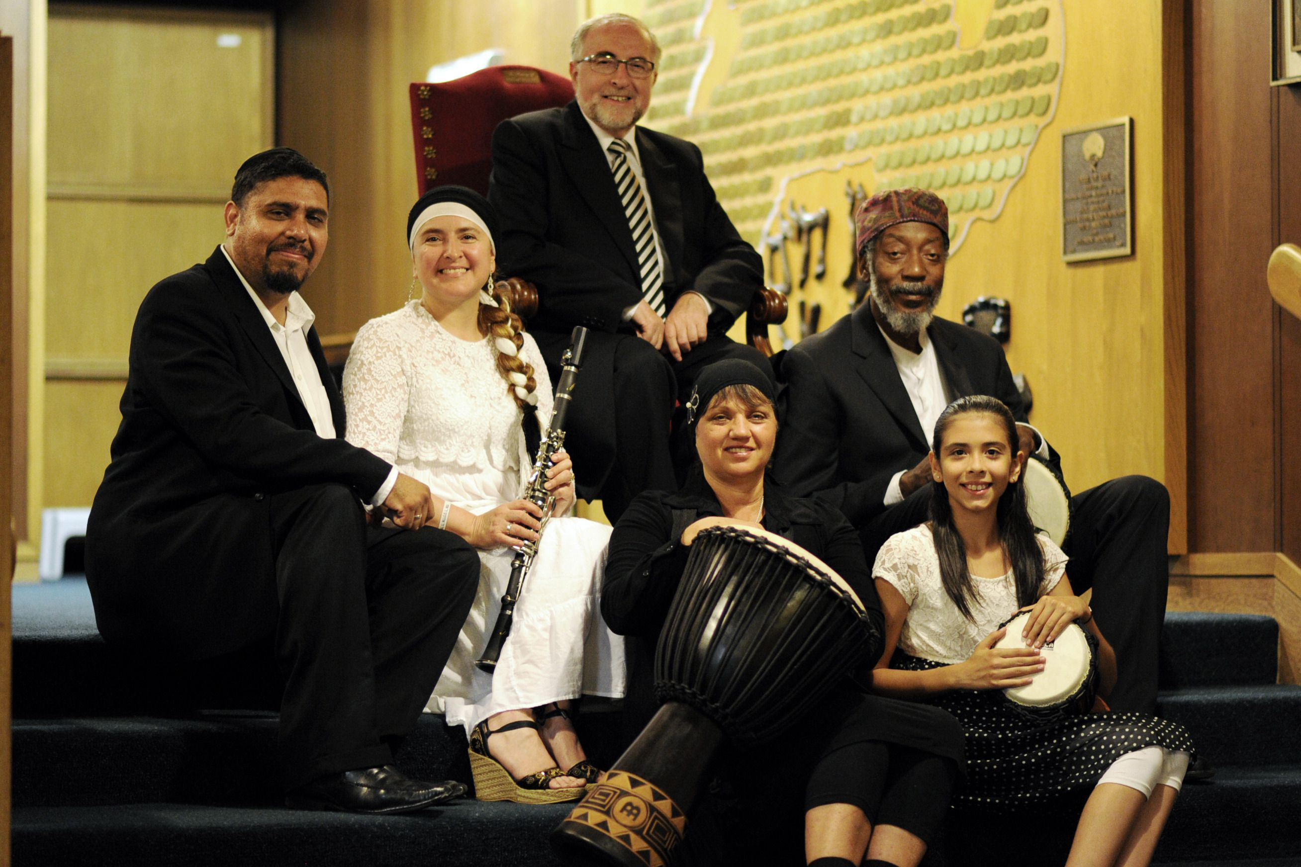 Preserving a Language: Rabbi Simon Bezanquen (center, in chair) hopes to produce the first-ever Ladino rap music record by the end of this year.