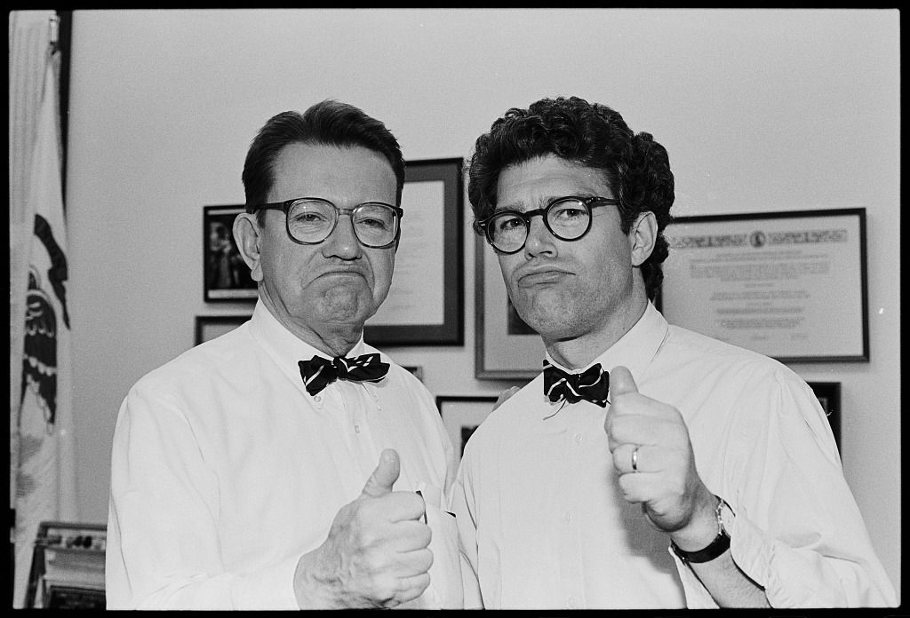 Al Franken, right, with Senator Paul Simon in 1991 when Franken was simply a funnyman with a nose for politics.