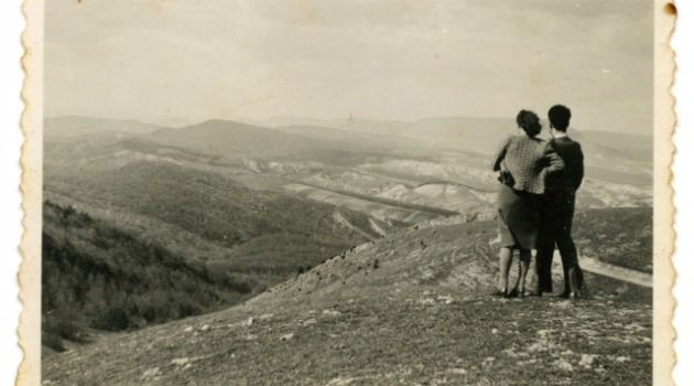 ZIonist Heroine: Hannah Senesh, accompanied by a friend, looks out on a vista in Palestine.