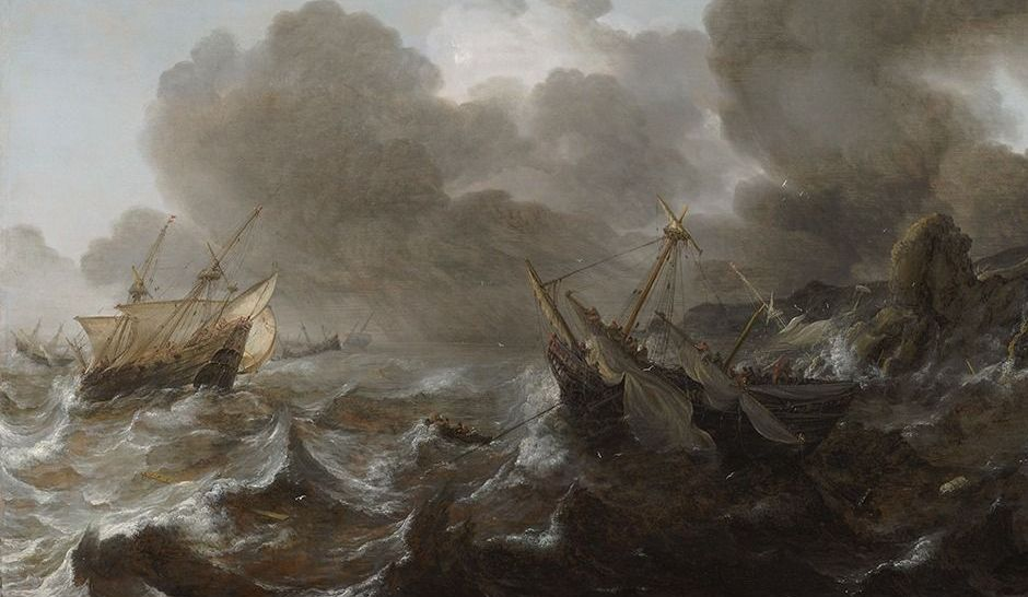 """""""Ships in Distress on a Stormy Sea"""" by Jan Porcellis, which was recovered by the Max Stern Art Restitution Project."""