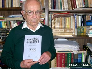 FINAL COPY: Editor Moshe Shklar holds what will likely be the final copy of the Yiddish literary journal Heshbon.