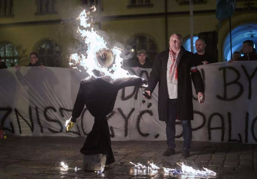 Protesters in Wroclaw burn a Jew in effigy at a demonstration against Middle East refugees in that city in November, 2015.