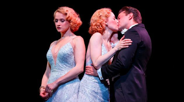 Joined at the Hip: Emily Padgett as Daisy Hilton, Erin Davie as Violet Hilton, Matthew Hydzik as Buddy Foster in 'Side Show.'