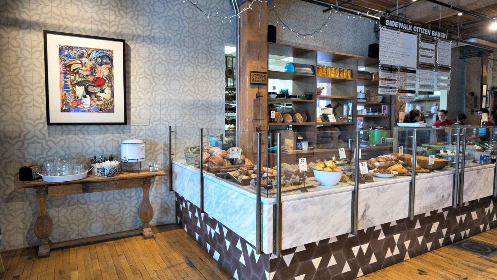 The bakery's decor gives off a rustic vibe.