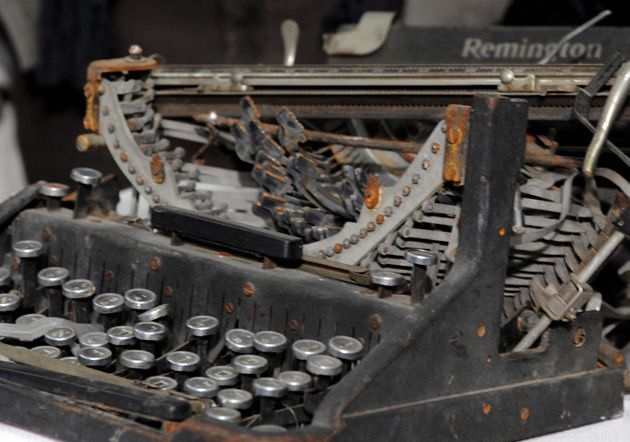HUNT-AND-PECK: This typewriter with Hebrew characters is not among those purchased by the NYPD.