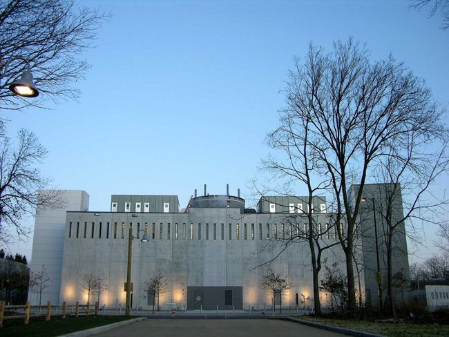The rear of the new Illinois Holocaust Museum & Education Center in the Chicago suburb of Skokie.