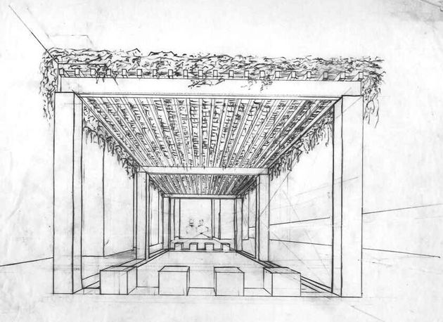 An unrealized sukkah design by Philadelphia architect Louis Kahn. (Courtesy of Louis I. Kahn Collection, University of Pennsylvania and the Pennsylvania Historical and Museum Commission)