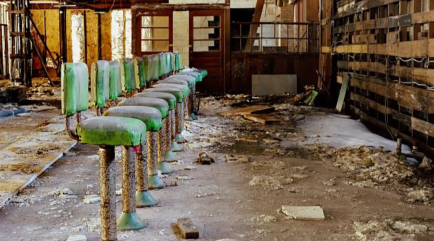 Decades of Decay: Amid the rubble, vestiges remain of the coffee shop at Grossinger?s Catskills Resort and Hotel in Liberty, N.Y. Photographer Marisa Scheinfeld has been capturing the ruins of the Borscht Belt hotels for the past three years.