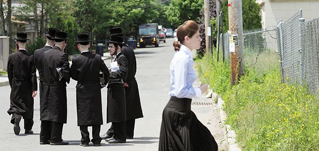 Separation Barrier: Women in New Square are not allowed to walk on the same side of the street as men, one of the many strict customs of the ultra-Orthodox community.