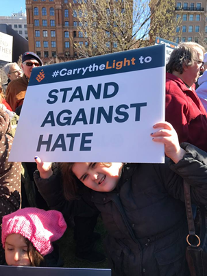 Mimi and Freida Atkins at the Stand Against Hate rally in Philadelphia, in March 2017.