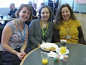 Learning Made Fun: From left, Reka Bodo, Eszter Susan and Zsuzsa Fritz, all of Limmud Hungary.