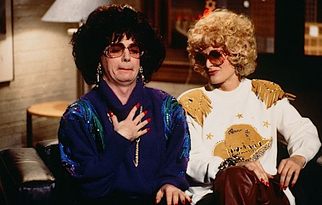 A Little Farklemt: Mike Myers as Linda Richman (here with Glenn Close as Judy on ?Saturday Night Live? in 1992) made the prefix famous.