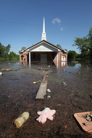 Floodwaters High: Water surrounds the Bethlehem MB Church in the King?s Community neighborhood on May 17, in Vicksburg, Miss.