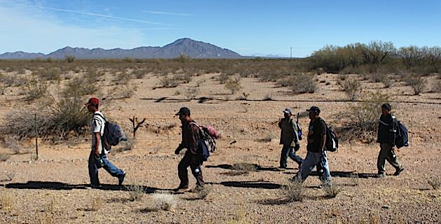 Illegal Migration: Immigrants walk through the Sonoran Desert after illegally crossing the U.S.-Mexico border earlier this year.