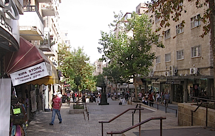 A Festival for the Feet: Halprin turned Ben Yehuda street in Jerusalem into a pedestrian mall.