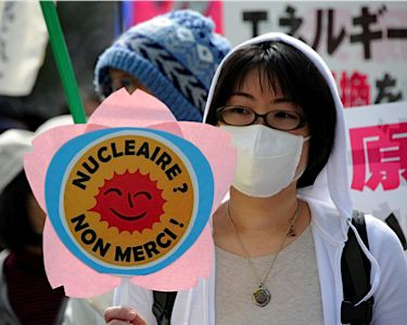 Reason To Worry: Anti-nuclear protesters gather in Tokyo on April 10.