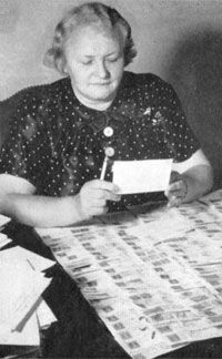 Regina Frischwasser: The Forverts?s food editor, she was with the paper from 1917 to 1959. Here she peruses 1946 recipe contest entries.