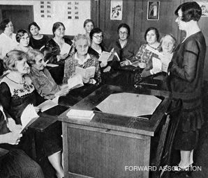 Model Students: This picture of Jewish women learning English at the National Council appeared in the Yiddish Forvertz with a caption that read, 'It's Never Too Late to Learn.'