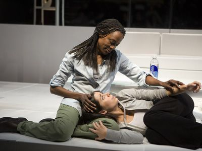 Sapphic Satire: The ironically named Blanche (Charlayne Woodard) does not gild the Lily (Cristin Milioti).
