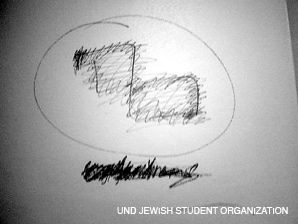 SWASTIKA?: Graffiti on university?s dormitory wall.