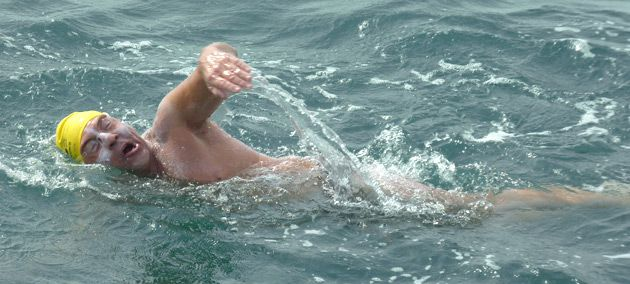 ?Torture?: James Meier braves the frigid waters of the Channel.