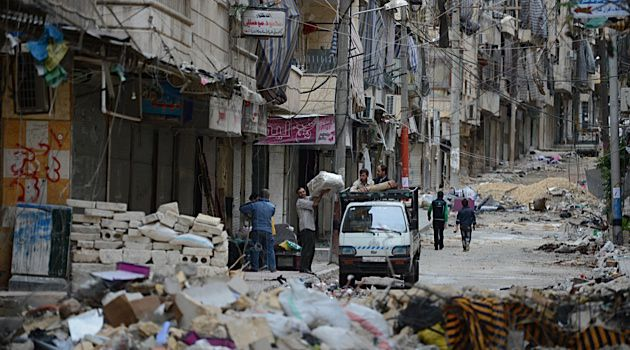 Destruction from the Syrian civil war in Aleppo.