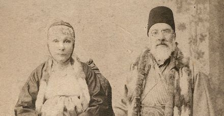 Undated studio portrait of Sa?adi Besalel a-Levi and his second wife, Esther, dressed in clothing distinctive to Salonican Jewry.