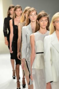 Models at Calvin Klein?s Spring 2013 show.
