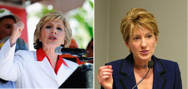 Barbara Boxer (D) and Carly Fiorina (R)