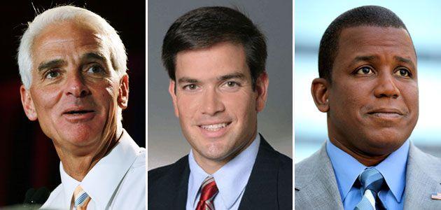 Charles Crist (I), Marco Rubio (R), and Kendrick Meek (D)