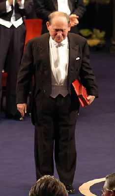 Sydney Brenner after receiving his Nobel Prize from the King of Sweden at the Stockholm Concert Hall, 2002.