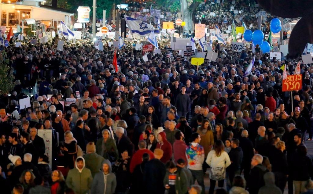 tel aviv march protests netanyahu corruption the forward