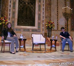 BIG QUESTIONS: Zoe Dubno, left, and Josh Kolb tried out the seats at Temple Emanu-El where Christopher Hitchens and Rabbi David Wolpe would later debate the existence of God.