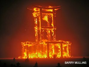 UP IN SMOKE: The Temple at Burning Man (pictured above in 2007) is set on fire, along with items people want to be rid of, each year.