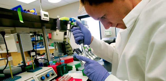 Send Them Your Saliva? A lab technician tests DNA samples at Pathway Genomics in San Diego, Calif.