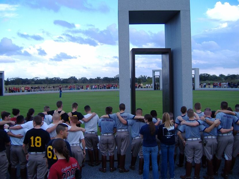 Students participate in the Elephant Walk at Texas A&M University
