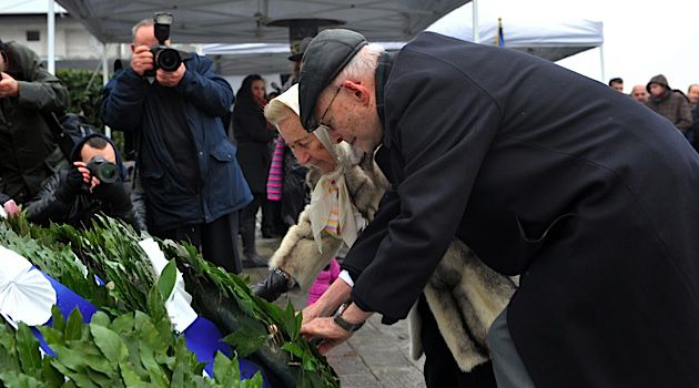 Members of the Jewish community take part in a ceremony at the Holocaust Memorial commemorating the persecution of the Jewish people during World War II, in Thessaloniki, Greece.