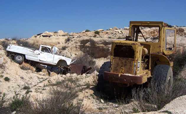 Shut Down: A West Bank quarry abandoned by its Palestinian operator, Aiser Ziadan, after Israel declined to renew his permit.