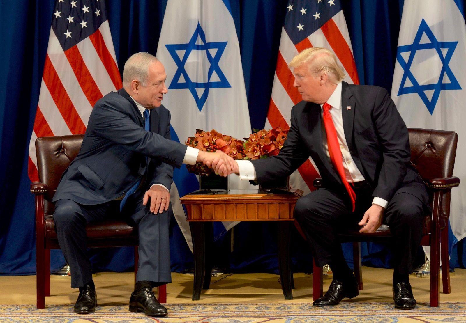 Donald Trump and Benjamin Netanyahu meeting in New York, September 18, 2017