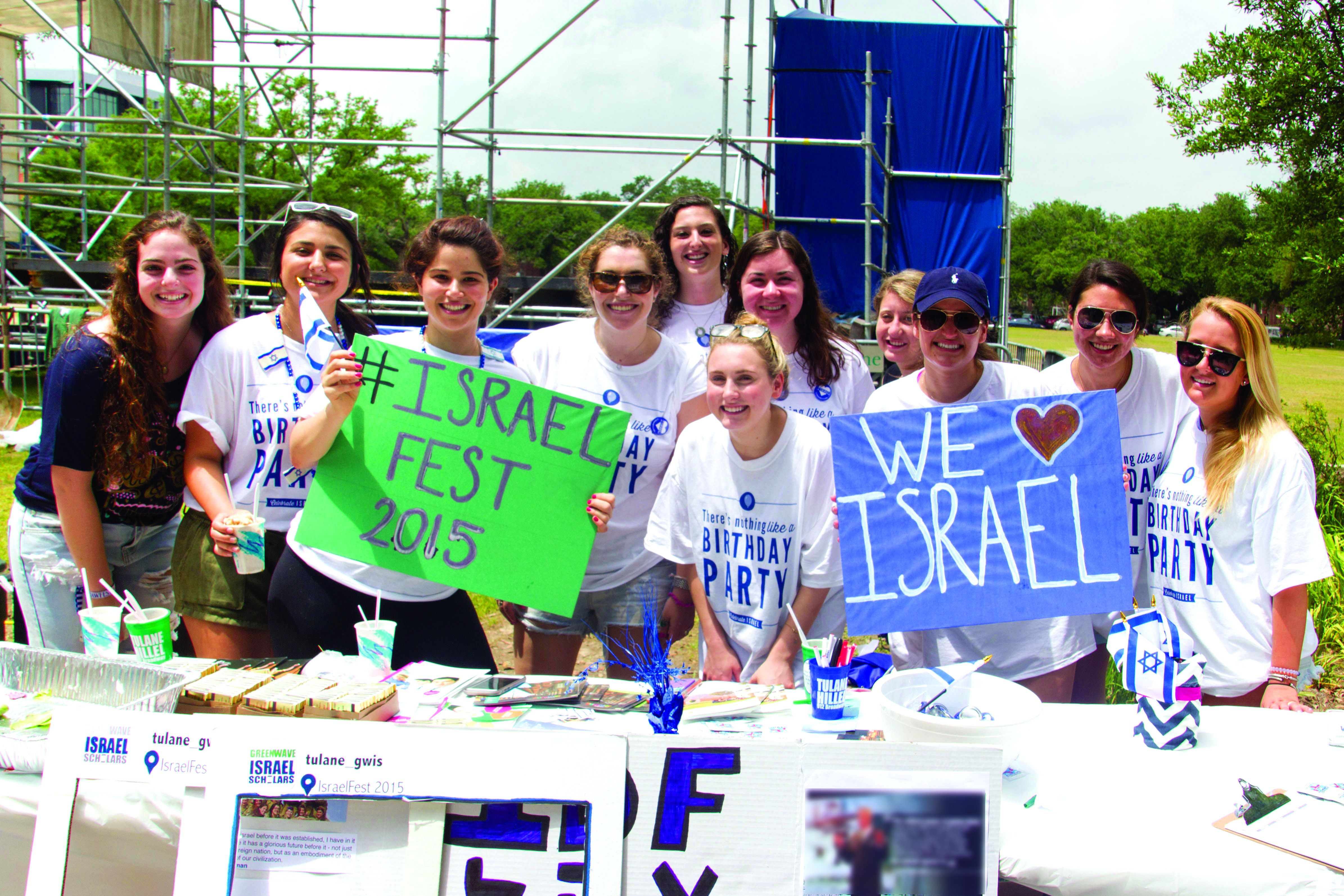 Pumped Up: Students at Tulane University in New Orleans celebrate Israel Independence Day last April.