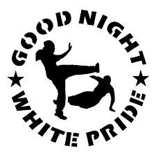 """The antifascist """"Good Night White Pride"""" emblem is drawn from a 1998 confrontation between the KKK and anti-fascist organizations in Michigan."""