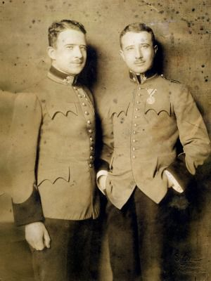 At Ease: Twin brothers Rudi and Fritz Arnstein in uniform.