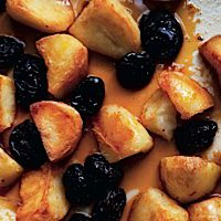 Sweet Redux: Tzimmes is reinterpreted as roasted potatoes and fruit in a caramel sauce.